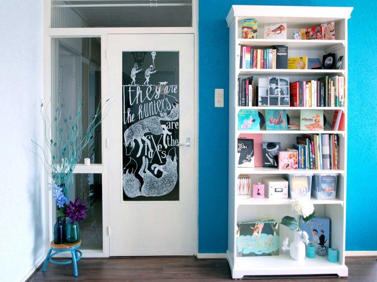 raamtekening deur in de woonkamer