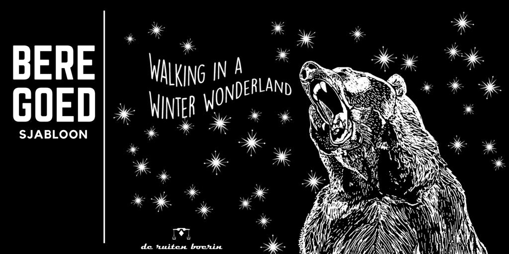 raamtekening zingende beer, tekst: beregoed sjabloon