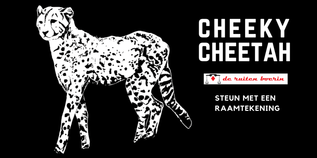 cheecky cheetah - steun met een raamtekening