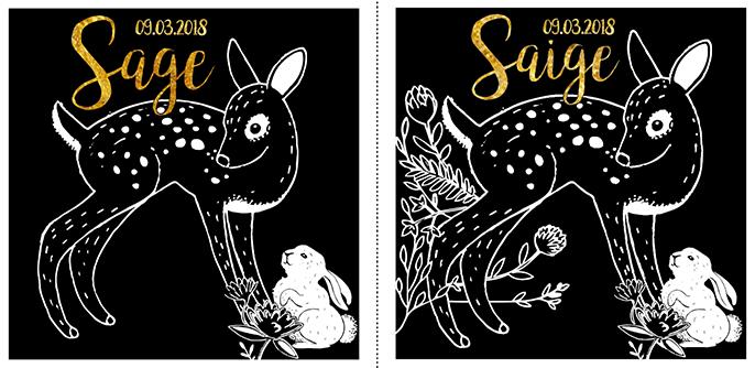 geïllustreerd reekalf met konijn. Boven tekst: Saige 09-03-2018