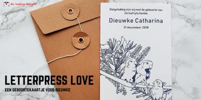 letterpress geboortekaart tekening lovebirds