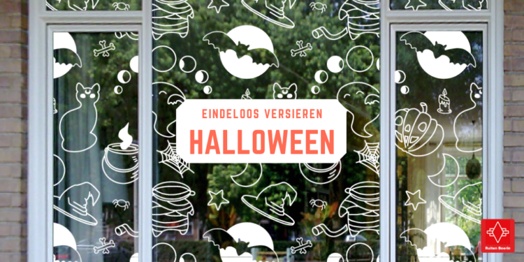 raam met Halloween patroon. Tekst: Eindeloos versieren: Halloween